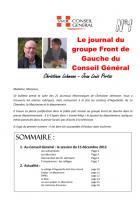 Le journal du FdG du conseil général - Novembre 2O12