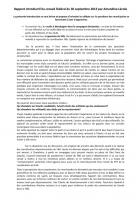 Rapport introductif du conseil fédéral du 30 septembre 2013