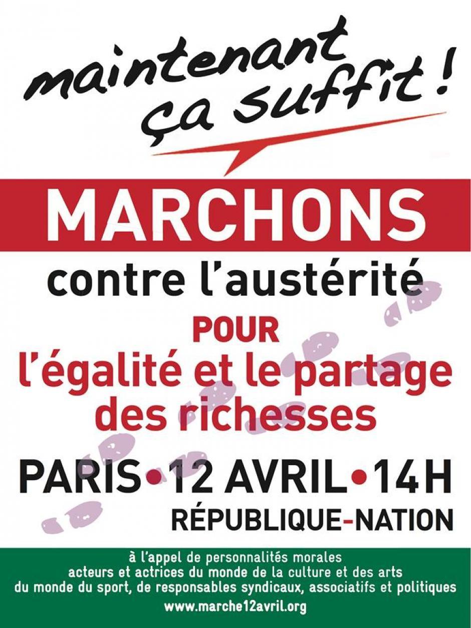 La marche  contre l'austérité, pour l'égalité et le partage des richesses