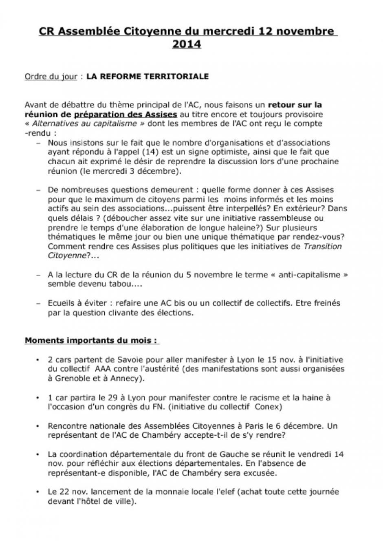 CR de l'Assemblée Citoyenne de Novembre