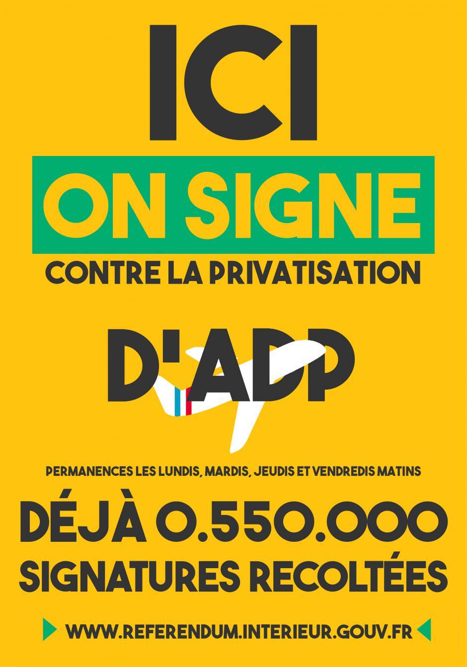 Permanence d'aide à la signature pour le référendum sur ADP