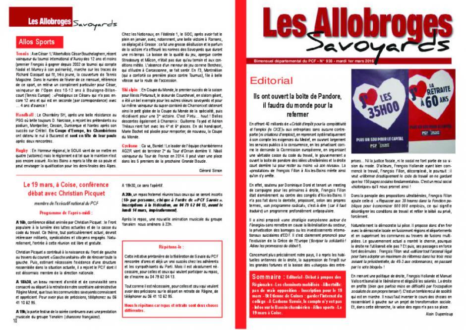 Les Allobroges - N°938 - 1er Mars 2O16