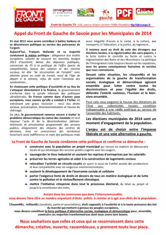 Appel du FRONT DE GAUCHE 73 pour les municipales de 2014
