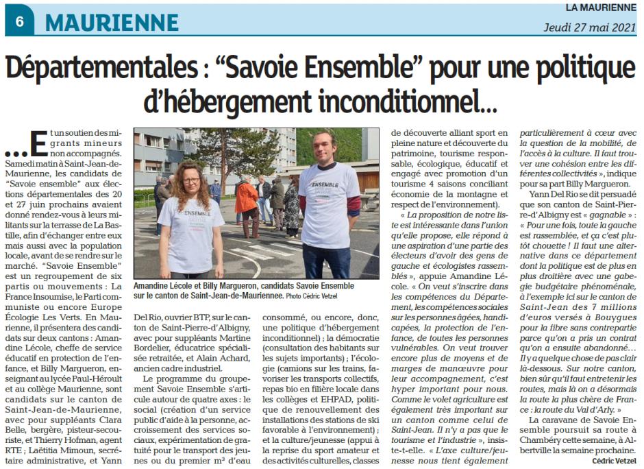 """[PRESSE - La Maurienne] """"Savoie Ensemble"""" pour une politique d'hébergement inconditionnel…"""