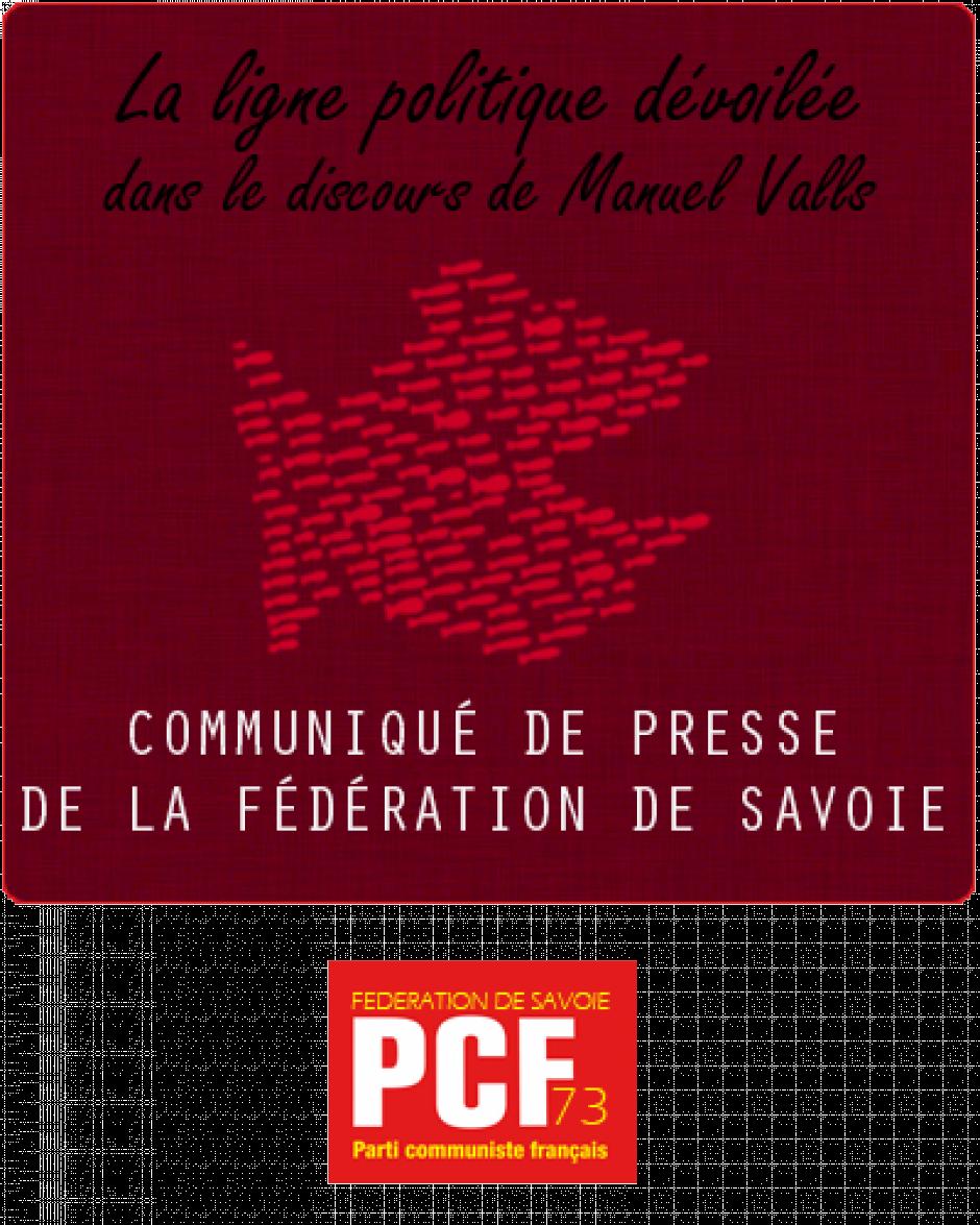 Communiqué de presse du PCF73 sur le nouveau 1er ministre