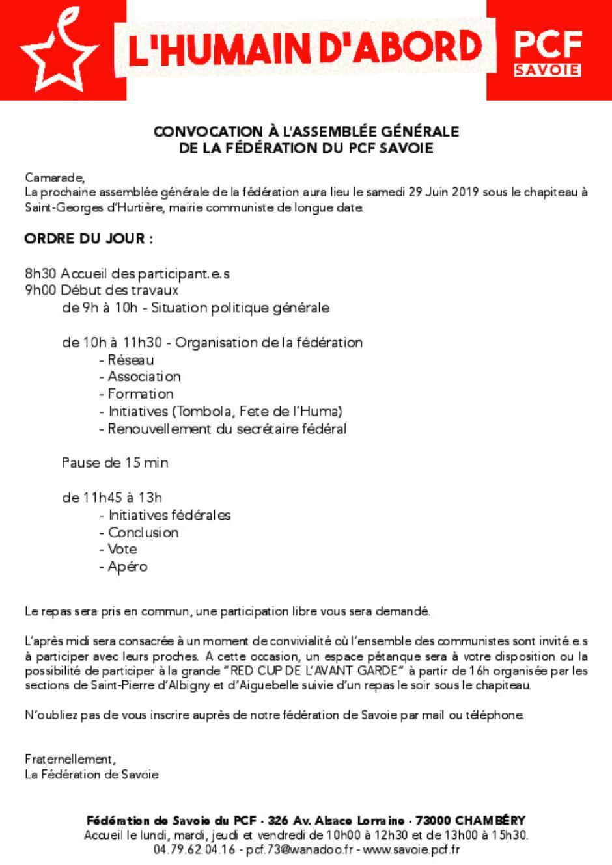 Assemblée générale de la fédération du PCF Savoie