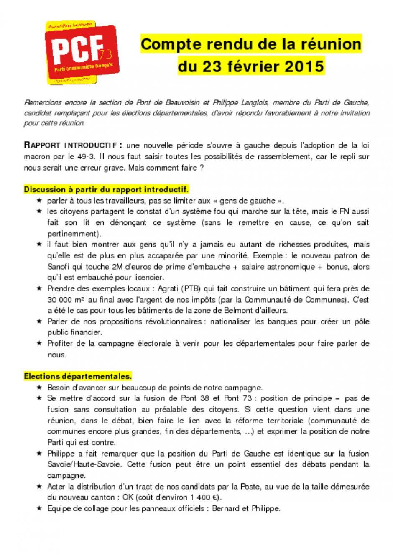 [La Bridoire] Compte-rendu réunion de section 23/02/15