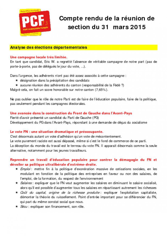 [La Bridoire] Compte-rendu réunion de section 31/03/15