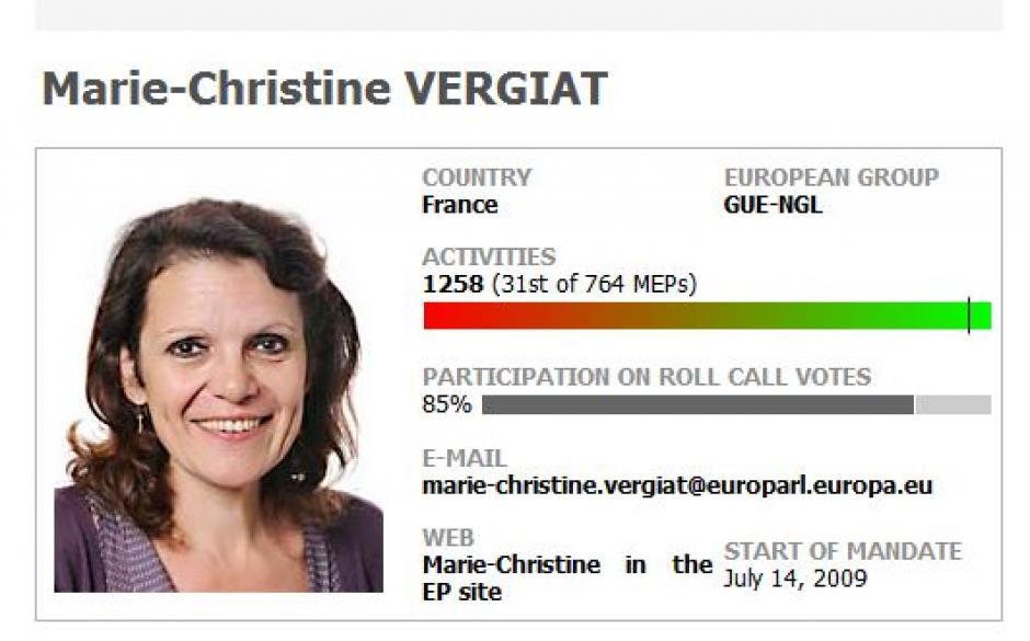 Marie-Christine Vergiat, 2nd députée française la plus active.