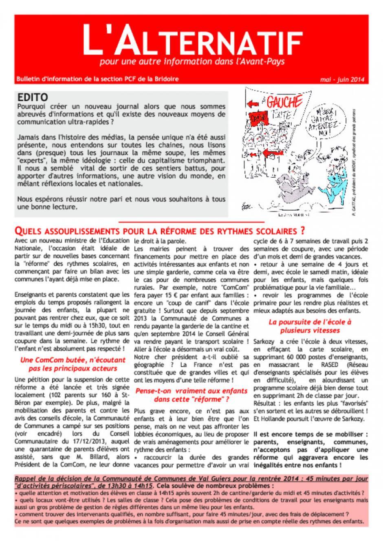 L'Alternatif - Mai/Juin 2O14