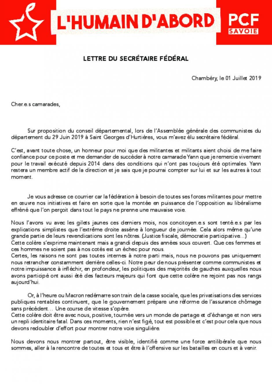 Lettre du secrétaire départemental [Juillet 2019]