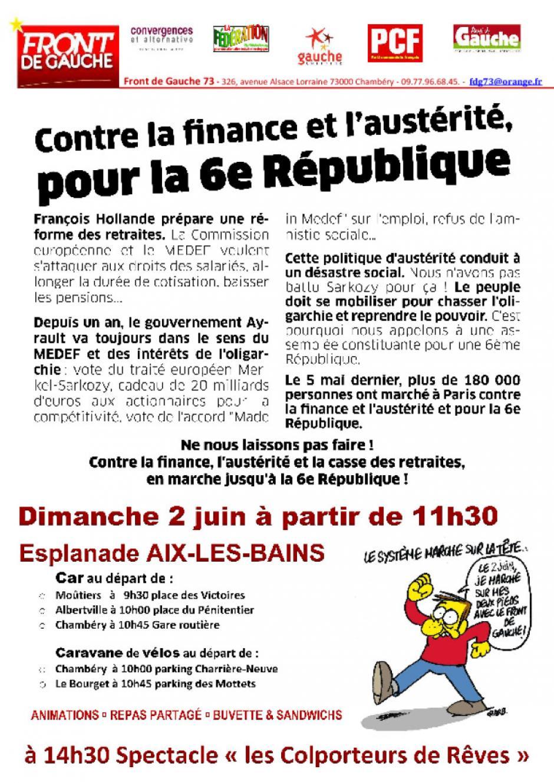 Manifestation du Front de Gauche le 2 juin à AIX-LES-BAINS