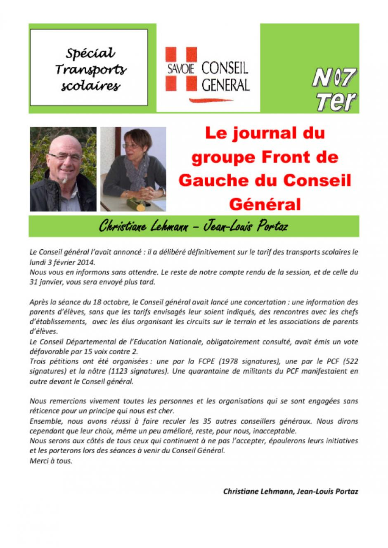Le journal du FdG du conseil général - Février 2O14 - N°7 Ter - Transport scolaire