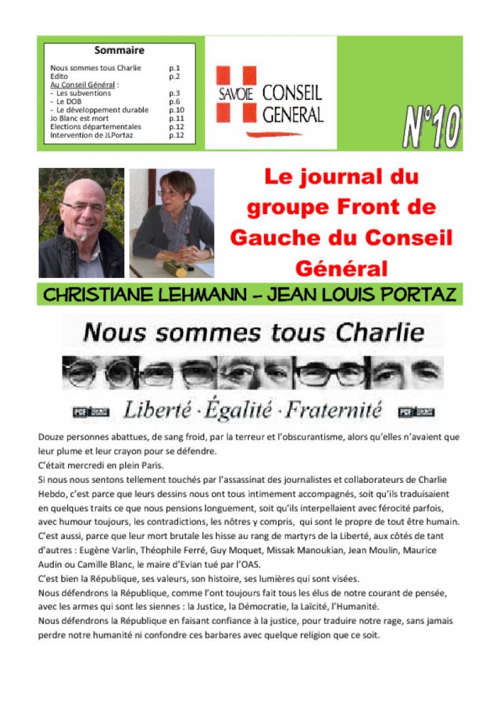 Le journal du FDG du conseil général - Janvier 2015 - n°10