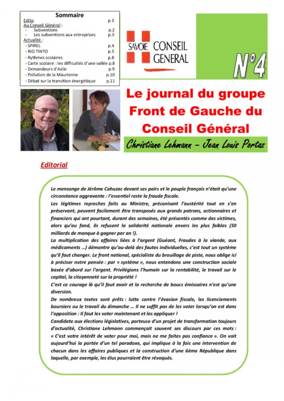 Le journal du FdG du conseil général - Avril 2O13