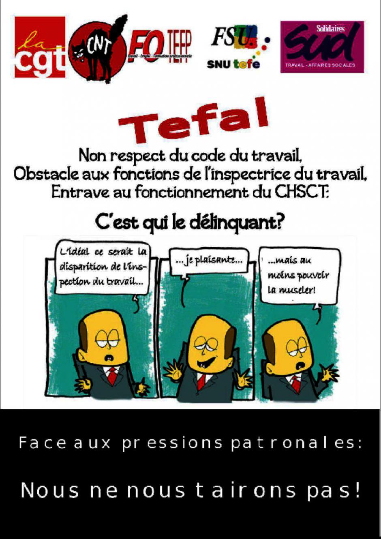 Mobilisation pour soutenir  l'inspectrice du travail et ex-salariée de Tefal lanceur d'alerte.