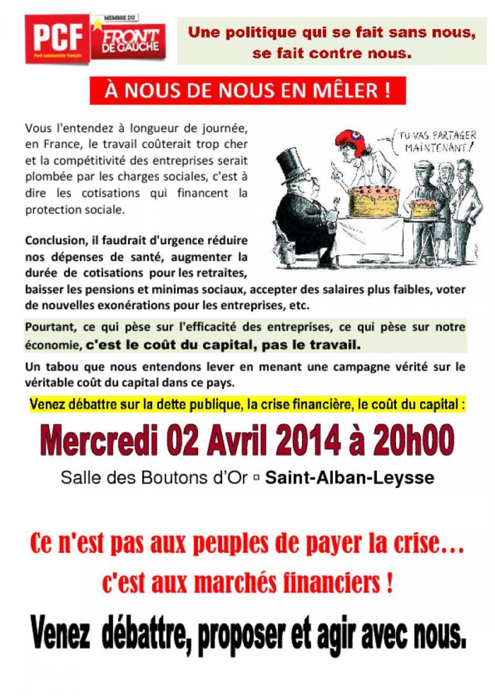 Formation économie et débat sur le coût du capital 2  Avril 2O14