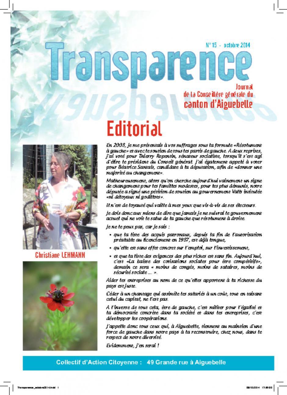 Transparence n°15 - Octobre 2O14